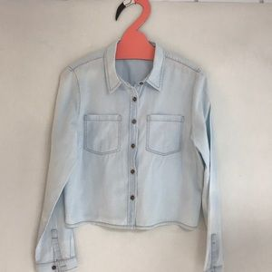 Stone-washed Crop Denim Shirt